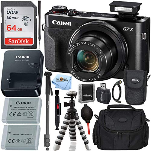 Canon PowerShot G7 X Mark II Digital Camera (Black) with Ultimate Accessory Bundle - Includes: Ultra 64GB SDXC Memory Card, Extra Battery, 72' Monopod, 8' Gripster, Carrying Case & More