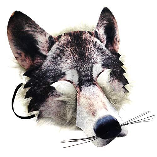 für Erwachsene & Kinder realistische Kunstpelz Wolf Gesicht Maske Packung TIER DSCHUNGEL Werwolf Buch Woche Kostüm Gesichtsmaske