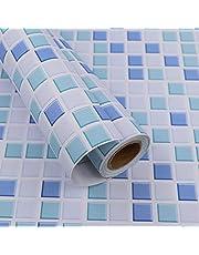 Mozaïek tegelstickers verbergen Behang Zelfklevende vinylfolierol voor badkamer Keuken Muurschil en stick Waterdicht 40X300cm…