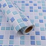 Hode Mosaico Vinilo Decorativos Adhesivo para Azulejos Cocina 40X300cm Impermeable Papel Pintado Autoadhesivo Baño Azul