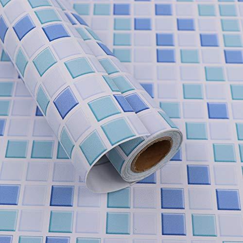 Hode Mosaik Fliesen Klebefolie Folie Selbstklebend Fliesenaufkleber für Küchen Bädern Wand Dekorfolie Blau 40X300cm