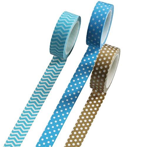 UOOOM 3 Rouleaux 10 m x 15 mm Washi Tape Ruban Adhésif Papier Décoratif Masking Tape Scrapbooking (10 modéles) (Design 3001)