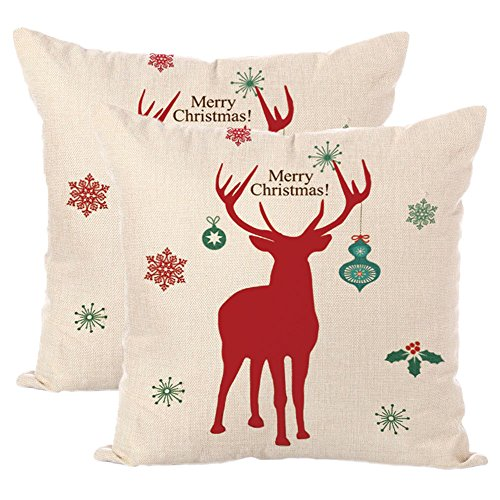 Jahosin Set of 2 Decorative Throw Pillows Cover Case 18 X 18 Inches,Christmas Elk/Wapiti Pillow Cases Shells for Couch (Christmas Deer Red)