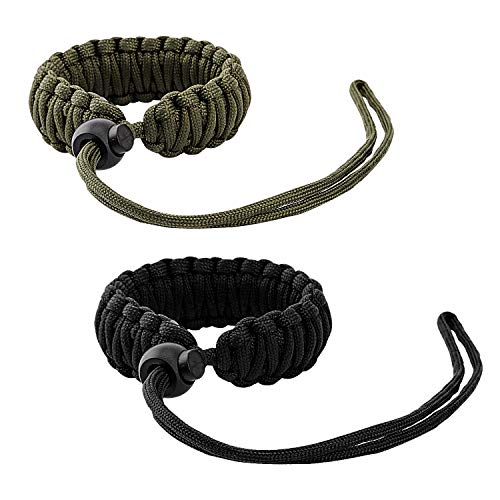 MoKo Universal Paracord [2 Pack], Nylon Braided Adjustable Camera Hand Grip Strap for Video Camcorder, Binoculars and Nikon/Canon/Sony/Minolta/Panasonic/SLR/DSLR Digital Cameras, Black & Army Green