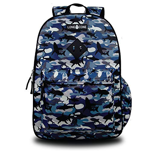 LONECONE Kids' 17' Backpack w/Laptop Sleeve for Elementary School, Shark Shadows (Camo)