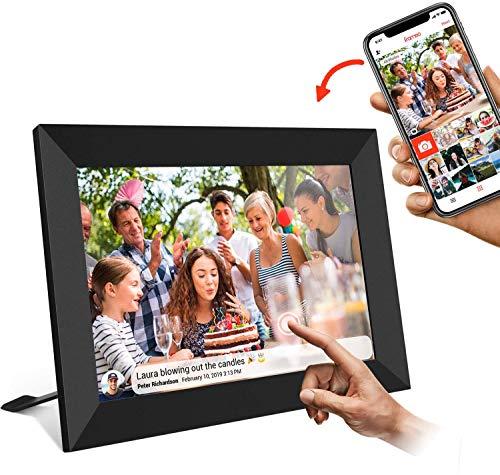 AILRINNI Cadre Photo Numérique WiFi 8 Pouces - Smart Cloud Cadre Photo IPS 1280 x 800 Écran Tactile avec 16Go Espace, Partagez des Photos Via App/Rotation Automatique