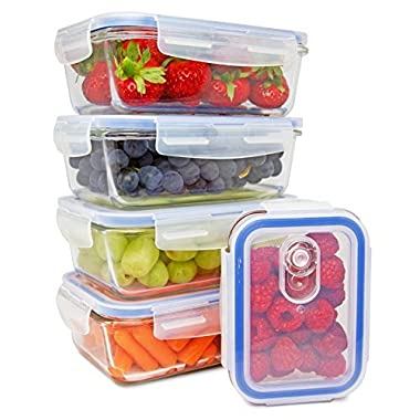 Glass Meal Prep Containers - Glass Storage Containers with Lids - Food Storage Containers Airtight - Lunch Containers Portion Control Containers - Food Prep Containers BPA free - [5 pack]