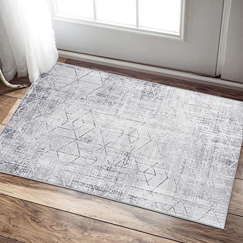 "Mejor jinchan Triangle Pattern Doormat Vintage Area Rug for Kitchen Geometric Print Floorcover Indoor Soft Mat for Bedroom Living Room Beige 2'x 3'3"" crítica 2020"