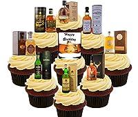 Joyeux anniversaire gâteau de l'amateur de whisky, décorations comestibles pour gâteaux (lot de 36ou 72) Entièrement comestibles, de qualité premium, épais, carte comestible papier de riz (non pas cher.) Sans gluten, écrou gratuit, kascher certifié ...