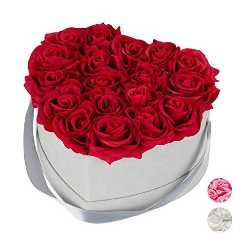 Relaxdays Rosenbox Herz, 18 Rosen, stabile Flowerbox grau, 10 Jahre haltbar, Geschenkidee, dekorative Blumenbox, rot