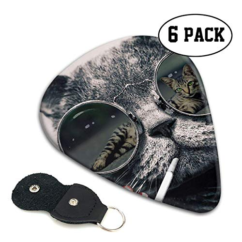 Lustige coole rauchende Sonnenbrille Cat Celluloid Guitar Pick - Musikgeschenke für Bass, elektrische Akustikgitarren