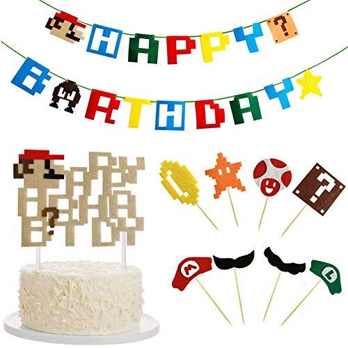 Super Mario Party Supplies - WENTS 10PCS Mario Birthday Decorazioni, Cake Topper Banner per Super Mario Tema Birthday Party Decorazioni Supplies Set