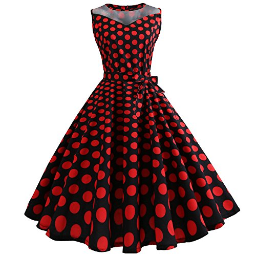 OverDose Damen Urlaub Strand Stil Frauen Vintage Dot Bunte Druck Sleeveless Mesh Patchwork Abend Party Bar Dating Schlank Swing Kleid Rock Dirndl(Rot, EU-38/CN-XL )