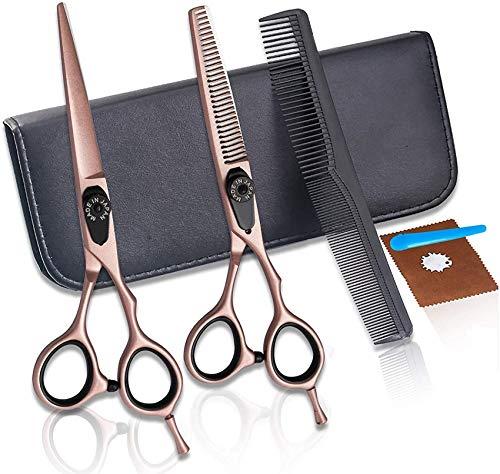 YLLN Kit de Tijeras para Cortar el Cabello, Tijeras Planas de 6.0 Pulgadas, Tijeras de Adelgazamiento, Juego de Tijeras de peluquería Bang Scissors