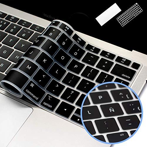 Lenfech Cubre Teclado en Español Compatible con MacBook Mac Book Air 2018 13' 15'. Protector/Funda para Teclado Silicón/Silicona. Cubreteclado de protección. Disponible en 2 Diseños. (Negro)