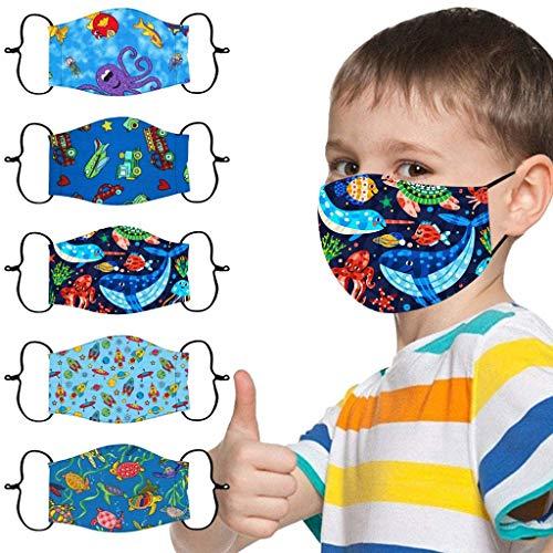 5 Stück Mundschutz Kinder Multifunktionstuch 3D Cartoon Druck Maske Animal Print Atmungsaktive Baumwolle Stoffmaske Waschbar Mund-Nasenschutz Bandana Halstuch für Jungen Mädchen (C)