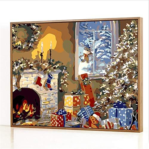 Diy Digitale Olieverfschilderij,Kerst kast Schilderen Door Cijfers,Linnen Canvas ,Foto Voor Binnendecoratie - 40x50cm(Fotolijst)