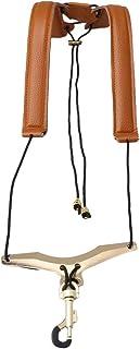 Yibuy - Arnés de piel marrón para cuello de saxofón menos estrés de 12 pulgadas