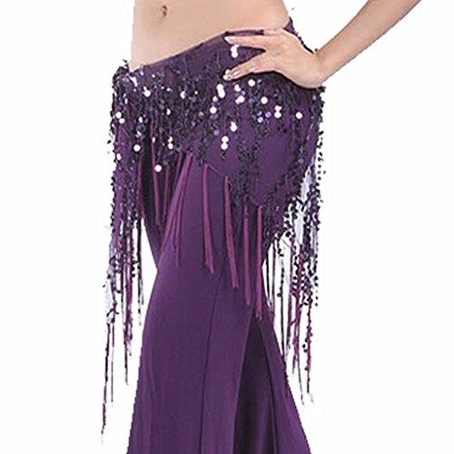 Best Dance Damen Hüft-Schal in Dreieck-Form mit Pailletten und langen Fransen, Wickel-Netz-Rock mit Bund, violett