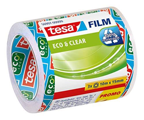 Tesa film Eco & Clear transparent, 10m:15mm, 3 Rollen im Sparpack