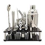 Bartender Kit de 17 piezas Cocktail Shaker Set Acrylic Bracket Home DIY Traje para bebidas mixtas Martini Bar Herramientas con pajitas (Color : Silver, Size : 550ML)
