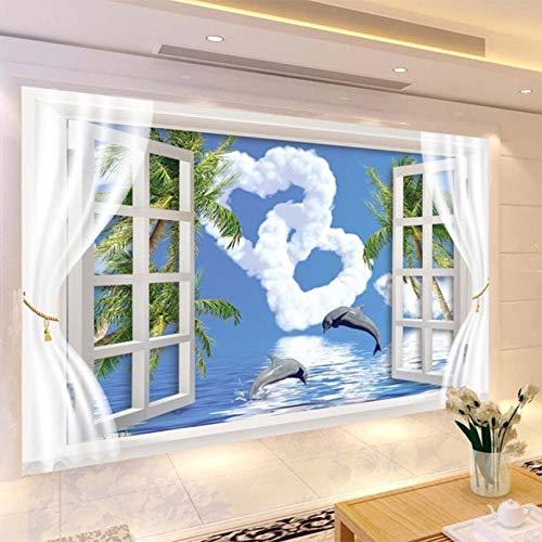 Creatividad personalizada, fuera de la ventana, cielo azul, nube de amor, delfín saltador, papel tapiz, 3D, sala de estar, fondo, papel tapiz 200x140cm