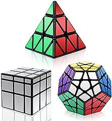 Vdealen Cubos de Velocidad, Speed Cube Set de Pirámide Megaminx Mirror Cube Smooth Magic Cube Colección de Rompecabezas, Plata