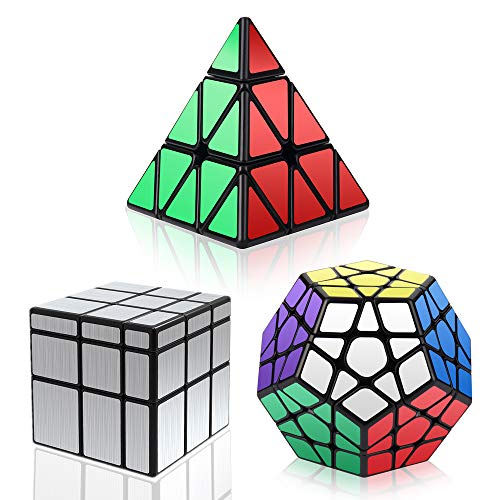 Vdealen Speed Cube Set, Magic Cube Set mit Piramide Cube & Megaminx Cube & 3x3 Mirror Cube, Magic Irregolare Cube Bundle per Bambini e Adulti, Argento