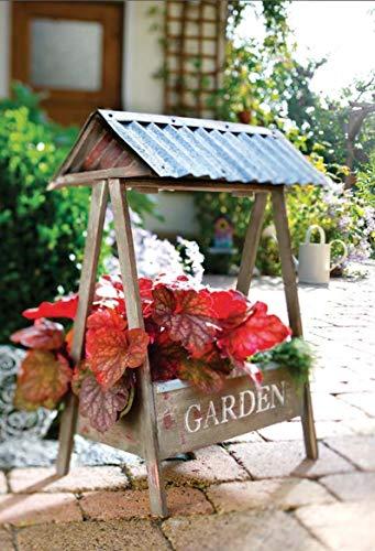 Dekoleidenschaft Blumenkasten Futterkrippe aus Holz, mit Dach, Pflanzkasten für Wohnung, Balkon oder Garten
