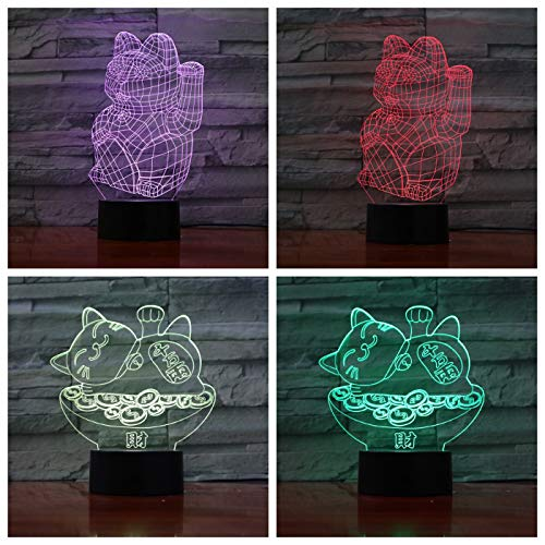 Maneki Neko Beckoning cat Manekineko 3D LED Night Light USB Table Lamp Kids birthday Gift Bedside home decoration