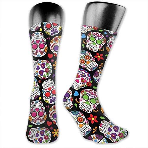YLcabin - Calcetines cómodos para mujer y hombre, diseño de flamencos y corazones coloridos Calavera de azúcar moreno. Talla única