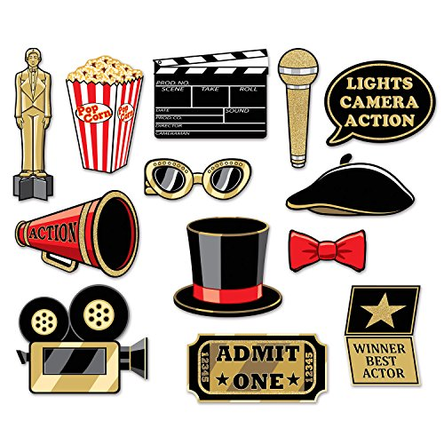 Beistle 13 Piece Glittered Awards Photo Booth Sign Props – VIP Movie Night Party Supplies, 5.5' - 11', Red/Gold/White/Black
