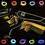 Kmruazre Fil néon pour voiture 5M/16FT LED bande 12V néons sous kit d'éclairage de tableau de bord pour intérieur de voiture LED feux de corde(Jaune)