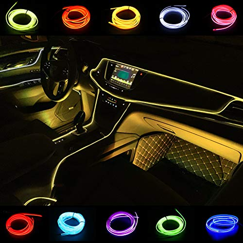 El Seil Licht Auto Kit 2M/6FT Neon Lichter unter Dash Lighting Kit für Auto Innenbeleuchtung Upgrade One-Line-Design (Gelb)