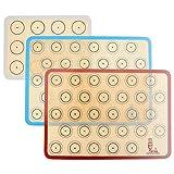 Tapete de silicona antiadherente para hornear, Lámina de horno para Macaron, Galletas, Pasta, Pizza, Pan, Ecológico y Reutilizable, Resistente al calor, sin BPA, juego de 3 unidades (42x30cm)