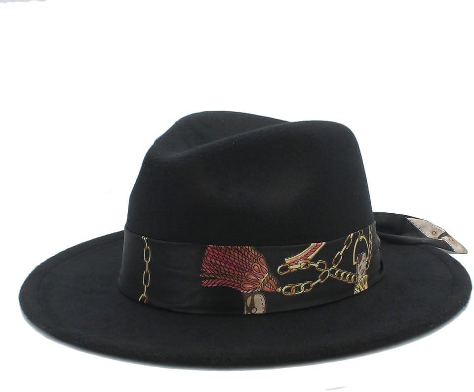 Women Men Wool Fedora Hat with Cloche Ribbon Winter Autumn Wide Brim Jazz Church,Lightweight,Breathable (Color : 1, Size : 57-59CM)