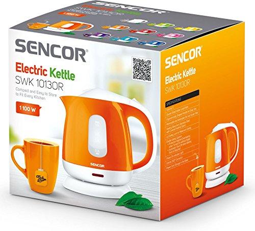 SENCOR SWK 1013OR Bouilloire Électrique Compacte - 1,0 Litre - 1100W - Filtre Anti-Calcaire Amovible Lavable - Blanc / Orange