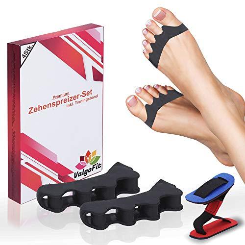 ValgoFit® Zehenspreizer Hallux Valgus Silikon [4x] - Zehentrenner - Korrektur für alle Zehen - Soft - Bandage, Fußzehen, Spreizer, Damen und Herren - mit Gratis Trainingsband und eBook