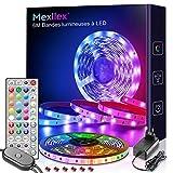 Bande LED Mexllex Ribbon 6M 5050 RGB, contrôle de bande lumineuse LED avec télécommande IR intégrée Microphones de synchronisation de musique LED intégrés