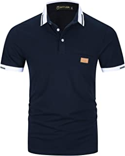 GHYUGR Short Sleeve Polo Shirts for Men Basic Cotton Contrasting Colors Threaded T-Shirt Casual Polos Tops