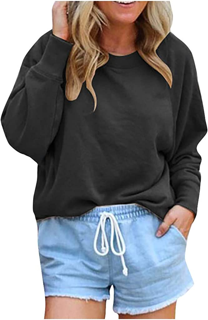 Women's Pullover Tops Fashion Solid Color CrewNeck Long Sleeves Casual Loose Pullover Sweatshirt Blouse Tops