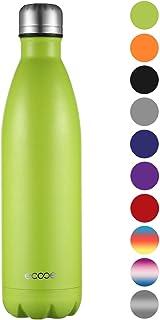 Ecooe Botella térmica de acero inoxidable para bebidas frías y calientes (verde)