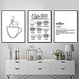 Menú de la guía del café nórdico Imágenes de la pared Impresión artística Negro Blanco Línea simple Taza de café Pintura de la lona Cafetería Cartel Decoración de la pared | 50x70cmx3 sin marco