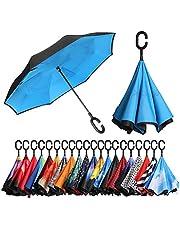 [Amazonブランド] Eono(イオーノ) 傘 逆さ傘 反転傘 折りたたみ傘 セルフ スタンディング 防風 UV 保護 トラベル 傘 車 雨 と アウトドア用 C シェイプ ハンドル ズ ブルー