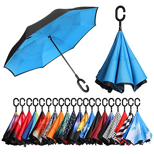 BAGAIL Double Layer Inverted Umbrellas Reverse Folding Umbrella Windproof UV Protection Big Straight Umbrella for Car...