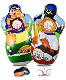 J&A's Inflatable Dudes Sports Toss- Double Sided- (Rex Football + Ninja Baseball ) 5 FEET | 2 Footballs and 2 Baseballs Included | Already Filled with Sand | Kids Punching Bag | Dinosaur Party Game