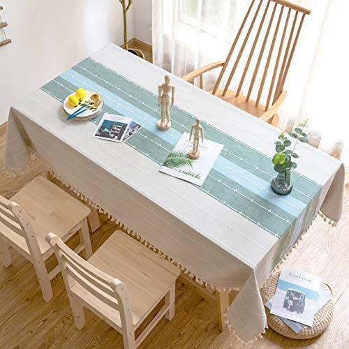 MRBJC Mantel rústico, estilo nórdico, de poliéster, rectangular, con borlas, para cocina, comedor, fiesta, vacaciones, Navidad, decoración de bufé, 140 x 200 cm