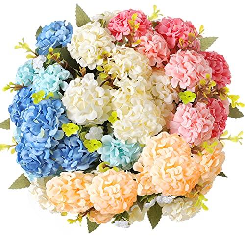 Künstliche Blumen,kunstblumen,hortensien kunstblumen Deko Blumenstrauß künstlich seidenblumen künstliche Blumen wie echt (Vier Farben)