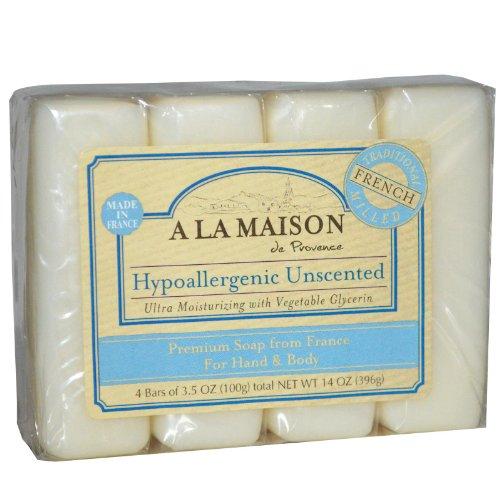 A La Maison Hypoallergenic Unscented Bar Soaps, 3.5 Oz - 4 Ea, 3.5 Oz