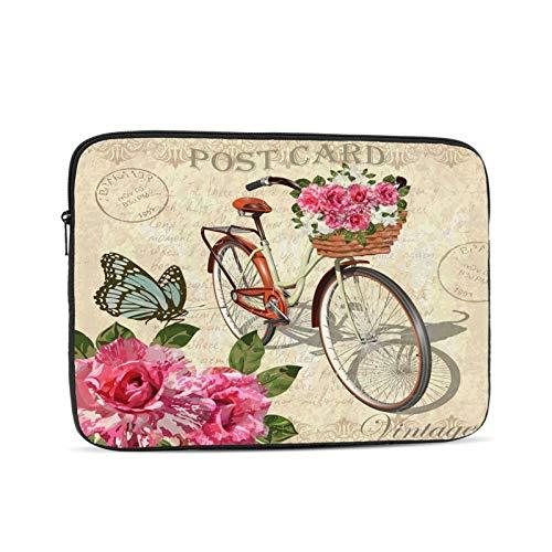Funda para portátil Bicicleta y Mariposa Rosas Vintage Bolsa Protectora portátil con Cremallera para Tableta, Bolsa Protectora para computadora portátil, Negro